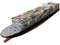 D rendering of a cargo ship full Royalty Free Stock Photo