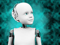 3D rendering of child robot head with space background.