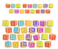 3d rendering of a colorful alphabet with a writing Toy Blocks Alphabet above all letters.