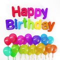 3d rendering of colorful balloons and the message Happy Birthday
