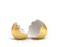 3d rendering of a cracked golden egg with its two pieces lying beside each other on white background.