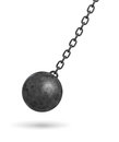 3d rendering of a dark black wrecking ball hanging from a chain and swinging in one side.