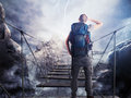 3D Rendering of explorer on unstable bridge Royalty Free Stock Photo