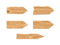 3d rendering of five wooden arrows with pointed ends on white background. Royalty Free Stock Photo
