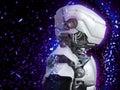 3D rendering of a futuristic robot head.