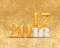 3d rendering golden color 2016 number year change to 2017 year a Royalty Free Stock Photo