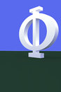 3D rendering of a greek capital letter PHI Royalty Free Stock Photo