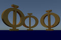 3D rendering of a greek capital PHI letter Royalty Free Stock Photo