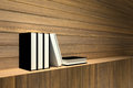 3D rendering : Illustration of books on wooden shelf or wooden bar against wooden wall