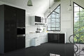 3D Rendering : illustration of modern interior kitchen room.kitchen part of house.black and white shelf.Mock up.shiny floor.