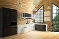 3D Rendering : illustration of modern loft interior kitchen room.kitchen part of house.black and white shelf.Mock up.wooden tile