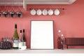 3d rendering : illustration of white mock up frame. hipster background. mock up white poster or picture frame.kitchen room