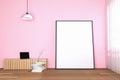 3d rendering : illustration of white mock up frame. hipster background. mock up white poster or picture frame. living room