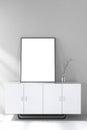 3d rendering : illustration of white mock up frame. hipster background. mock up white poster or picture frame.