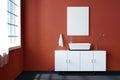 3d rendering : illustration of white mock up frame. hipster background. mock up white poster or picture frame. toilet interior