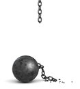 3d rendering of a large black iron ball lying down and a piece of its broken chain hanging from above.
