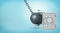3d rendering of a large wrecking ball hitting a silver old-fashioned safe box and crashing itself in many pieces Royalty Free Stock Photo