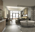 3d rendering luxury suite hotel bedroom with bathtub and counter bar