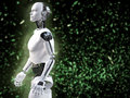 3D rendering of male robot with bokeh light effect.