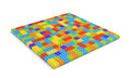 3d rendering of many toy blocks in different colors making up one large square shape