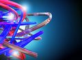 3D rendering Metal chrome red, blue, beauty Shiny reflection