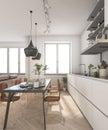 3d rendering minimal wood scandinavian kitchen with lamp