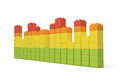 3d rendering of multi-colored toy bricks making up high uneven towers or graphs on white background.