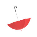 3d rendering of an open red umbrella with a black curved handle isolated on white background.