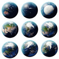 3D rendering Planet Earth set, globe from different angles, Set Earth  on white background for your design Royalty Free Stock Photo