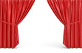 3d rendering of red opened stage curtains on white background.