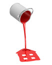 3d rendering of a red paint bucket overturned with paint leaking out into a house shape puddle isolated on white