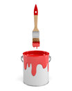 3d rendering of a red paint jar and a wooden brush with a red handle on white background.