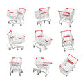 3d rendering of a set of isometric shopping carts on white background.