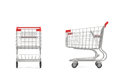 3d rendering of a shopping cart with a red handle in front and side view on white background.