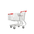 3d rendering of a shopping cart with a red handle isolated on white background.