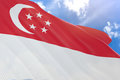 3D rendering of Singapore flag waving on blue sky background