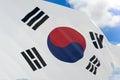 3D rendering of South Korea flag waving on blue sky