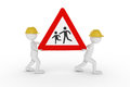 3D rendering from two clay characters with a yellow helmet carrying a children caution street sign