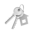 3d rendering of two isolated silver keys on a key ring with label Royalty Free Stock Photo