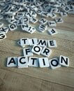 Time for action in letter tiles wood Royalty Free Stock Photo