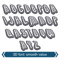 D retro font in rotation stylish vector letters design uppercase black and white Royalty Free Stock Photo