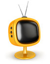 D retro television white background image Stock Photo