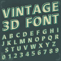 D retro type font vintage typography isolated on white vector illustration Stock Photos