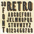 D retro type font vintage typography isolated on white vector illustration Stock Image