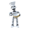 3d Robot chef with whisk and mixing bowl
