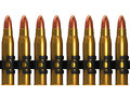D row of machine gun bullets render Stock Photos