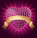 D ruby jewelry heart symbol with gold ribbon crystals diamonds gems jewels and golden tag valentines day clip art on black Stock Image