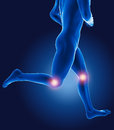 D running medical man knees highlighted Royalty Free Stock Photo