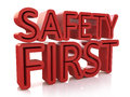 D safety first text isolated over white background in the design of information related to the protection Royalty Free Stock Photography