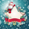 D santa claus character holding star card christmas shaped banner template with red ribbon tag cartoon blank place for adding text Stock Photography
